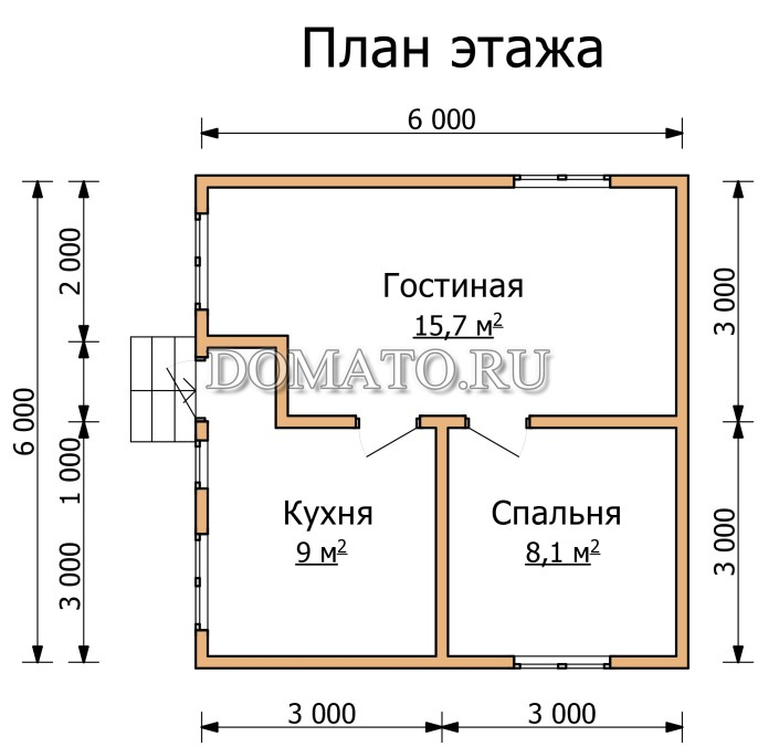 План этажа дачного дома 6 на 6
