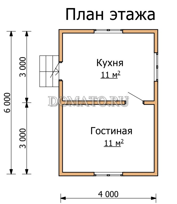 План  этажа дома 6 на 4