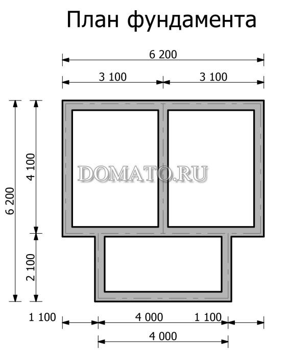 План  фундамента дачного домика 6 на 4