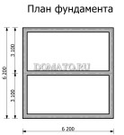 План  фундамента дачного домика 6 на 6