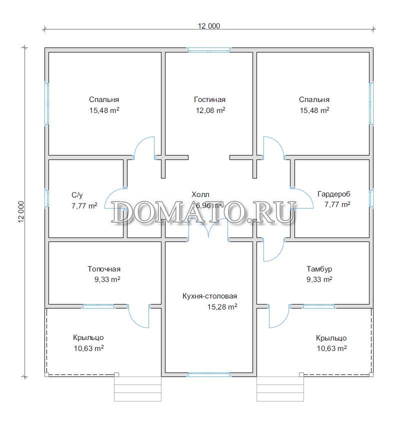 План одноэтажного дома 12х12