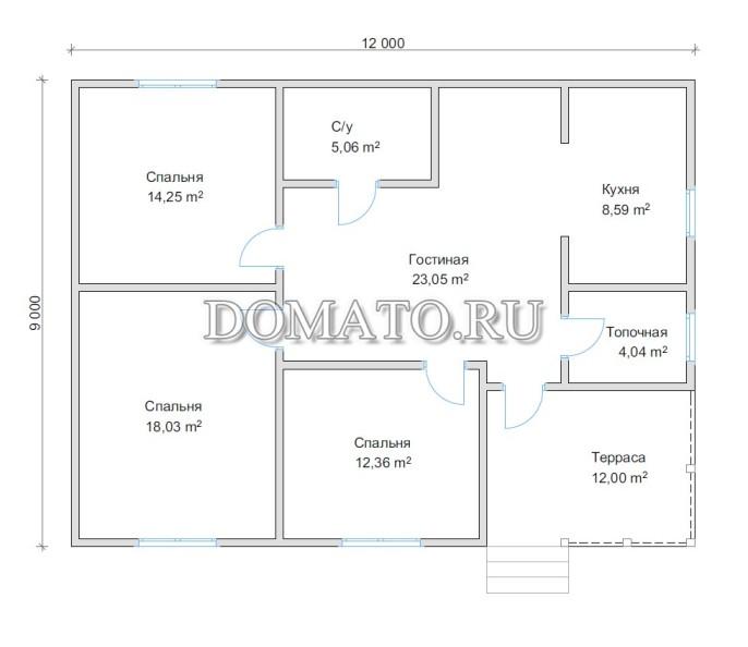 План одноэтажного дома 9х12