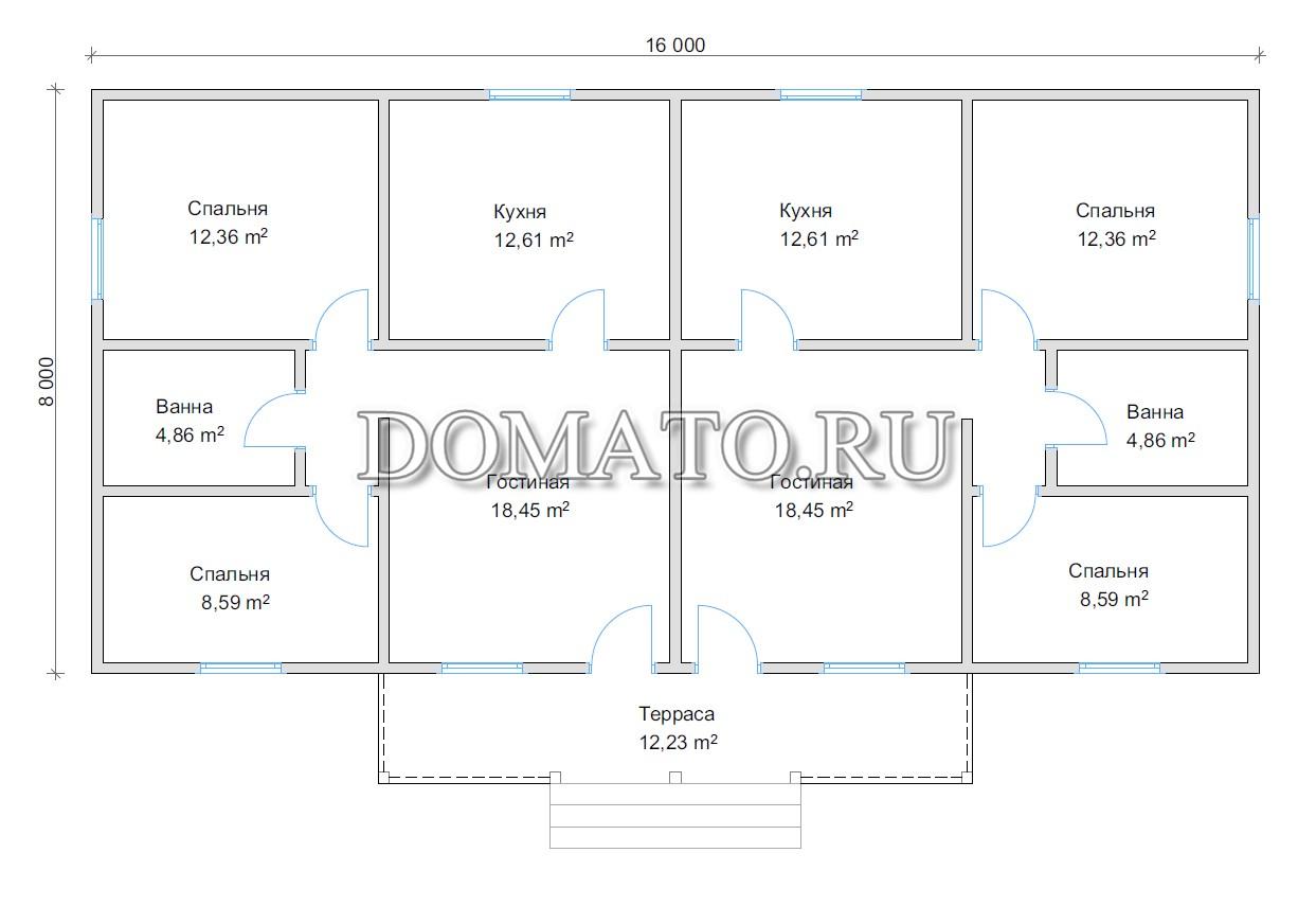 Планировка большого дома на две семьи 16х8