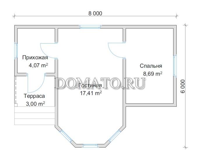 Планировка дома 8х6