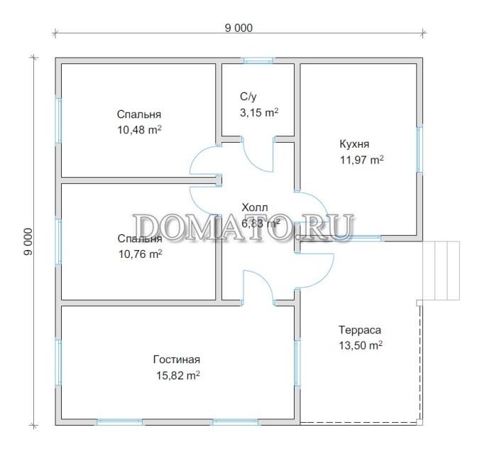 Планировка дома 9х9