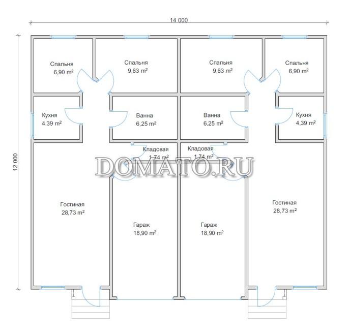 Планировка дома на две семьи 14х12
