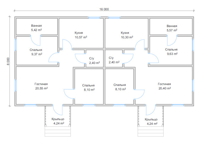 Планировка дома на двух хозяев 16х8