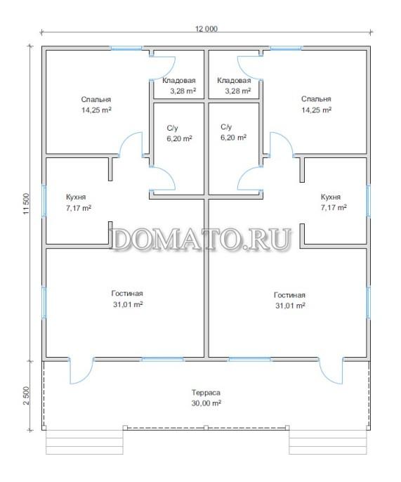 Планировка на две семьи с двумя входами