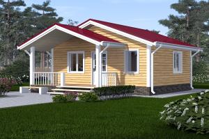 Дом одноэтажный 6х6 с крыльцом