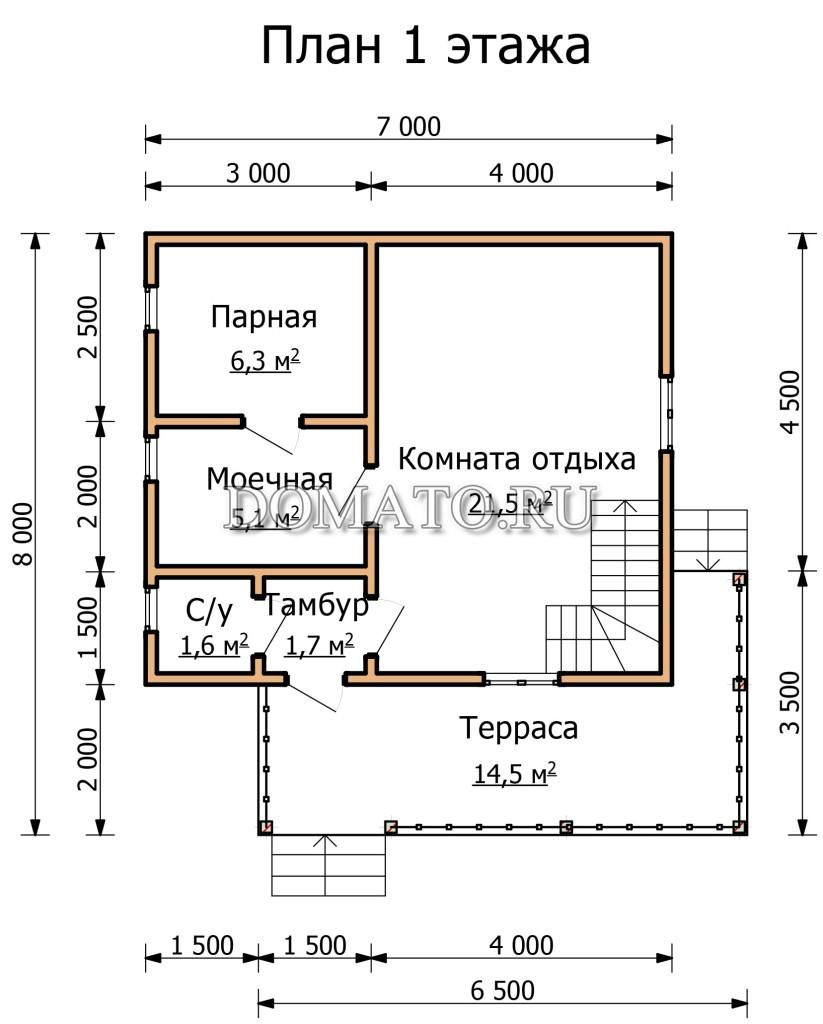 план 1 этажа бани 7 на 8