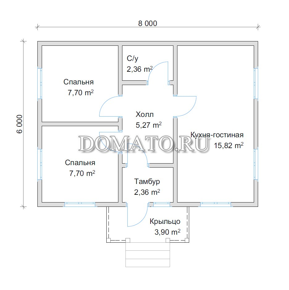 план одноэтажного дома 6 на 8