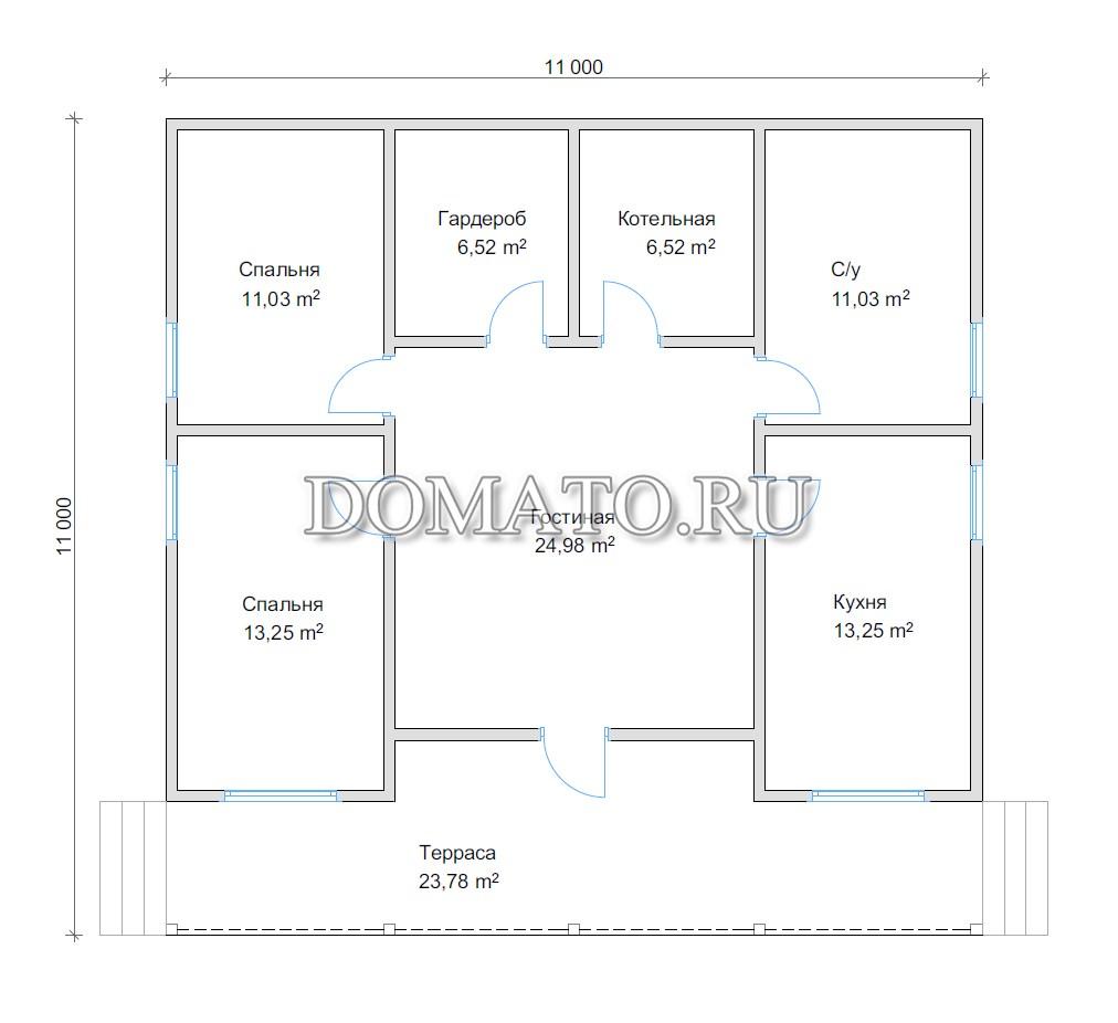 планировка одноэтажного дома 11 на 11