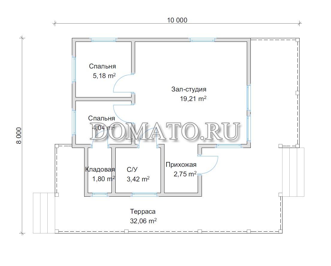 планировка одноэтажного 10 на 8