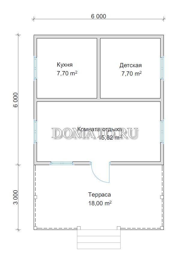 план одноэтажного дома 6 на 9