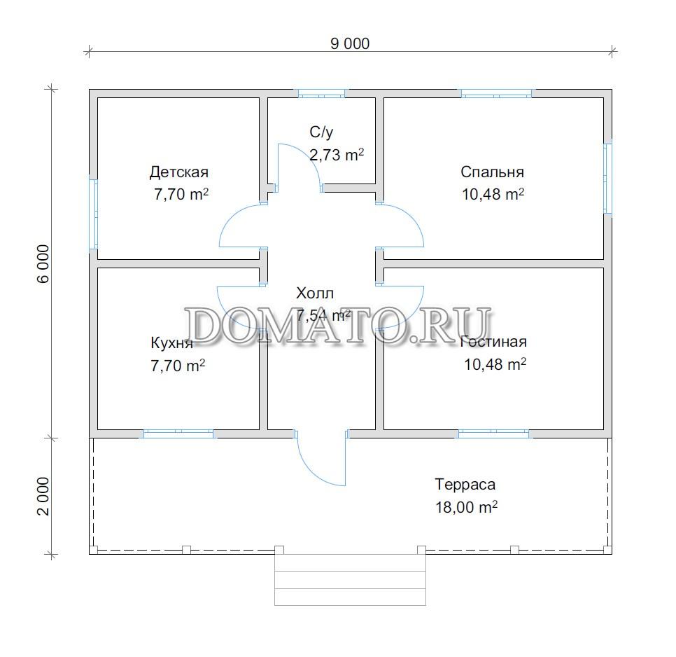 план одноэтажного дома 9 на 9 из бруса