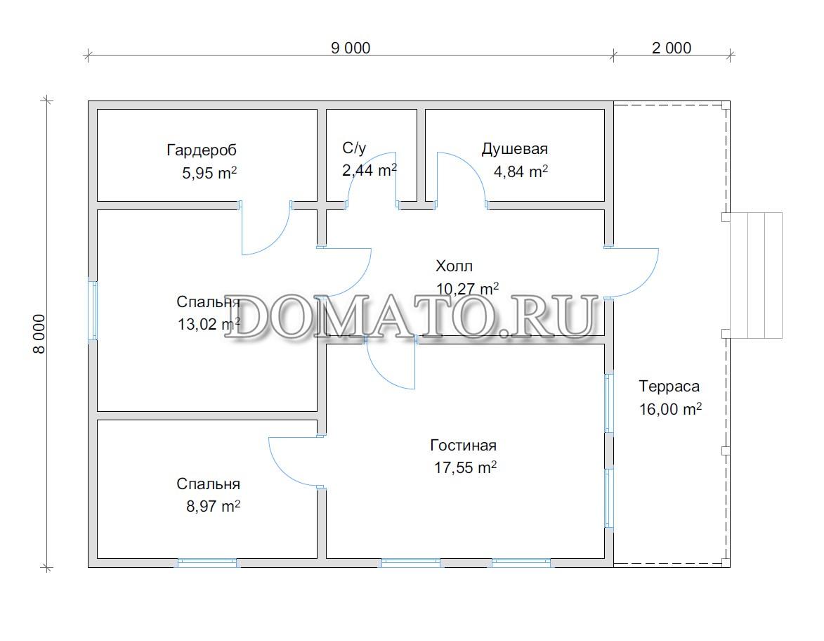 план одноэтажного дома 8 на 11