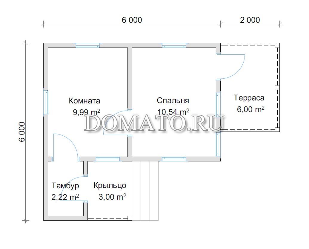 план домика 4х6