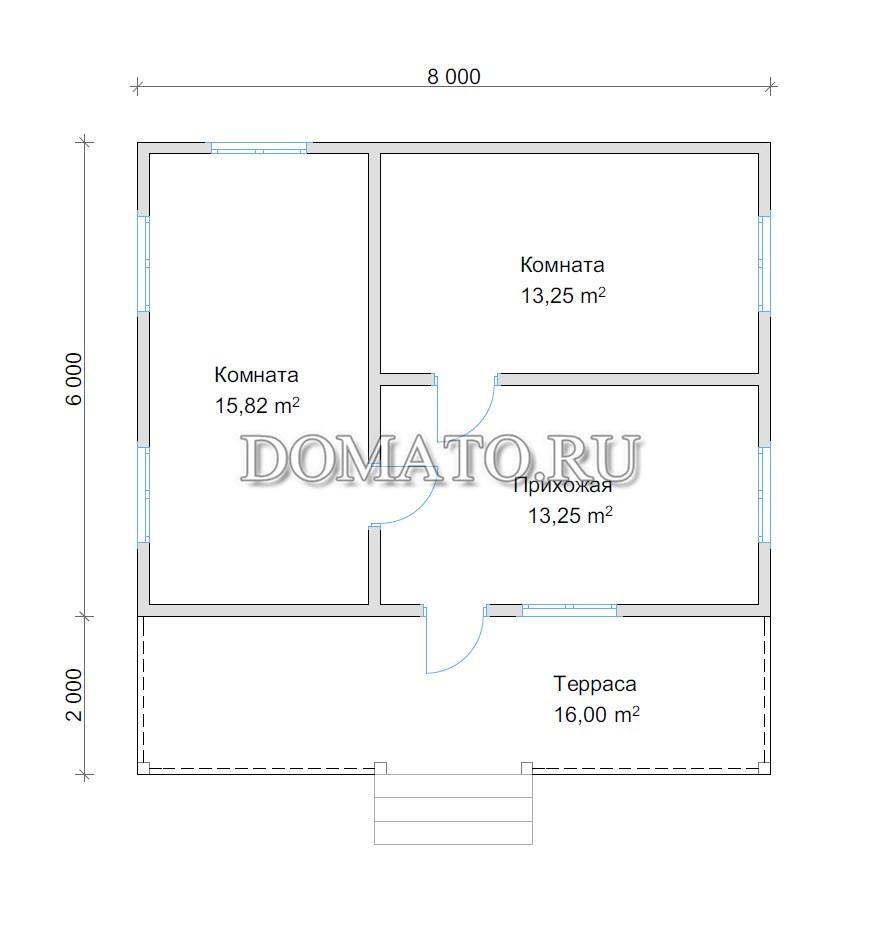 план дома одноэтажного 8 на 8