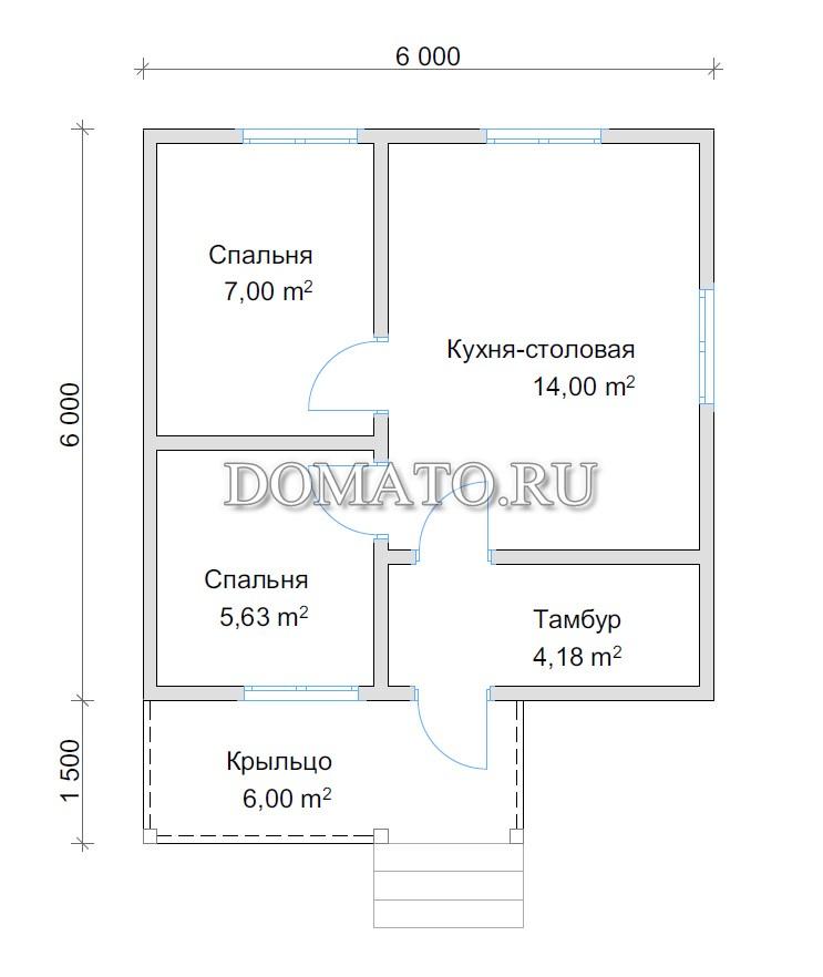 план одноэтажный дом 6 на 6