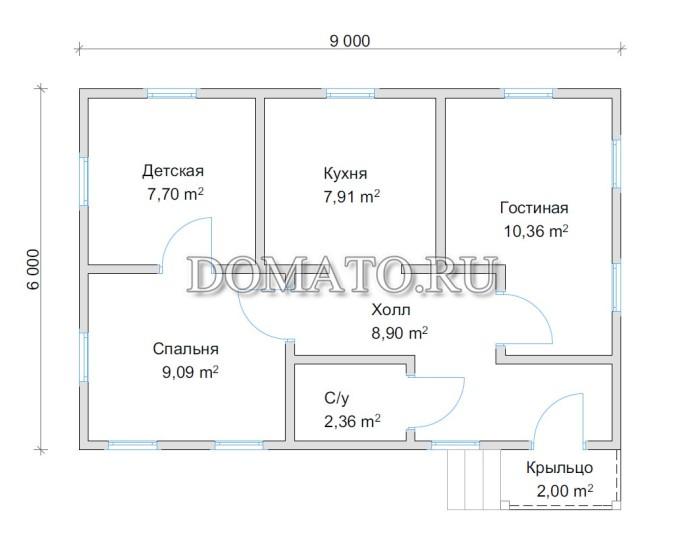план одноэтажного дома 6х9