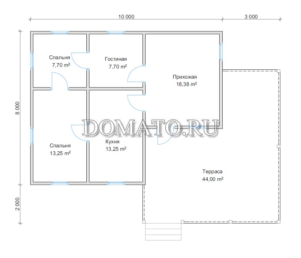 план дома 8х10 с террасой