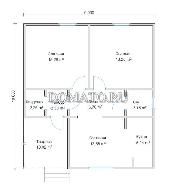 план одноэтажного дома 9х10