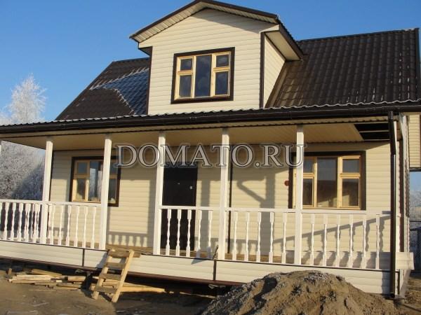 Дом из бруса с открытой террасой