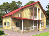 Двухэтажный дом 10 на 10 с террасой