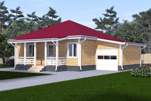 Одноэтажный дом 12х12 с гаражом