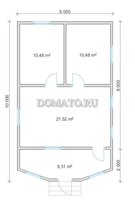 Планировка дома 10х6 с эркером