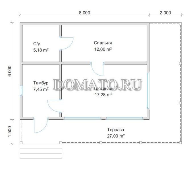 Планировка дома 6х8 с террасой
