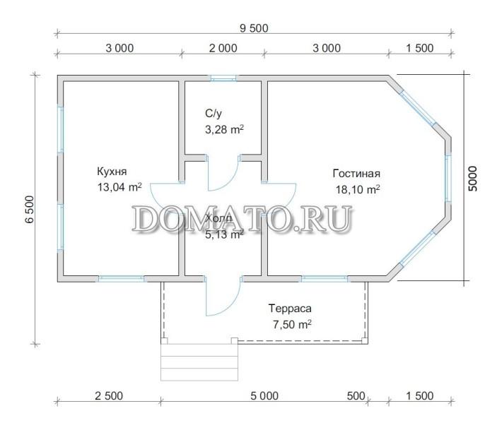Планировка, общие размеры 6,5х9,5 м.