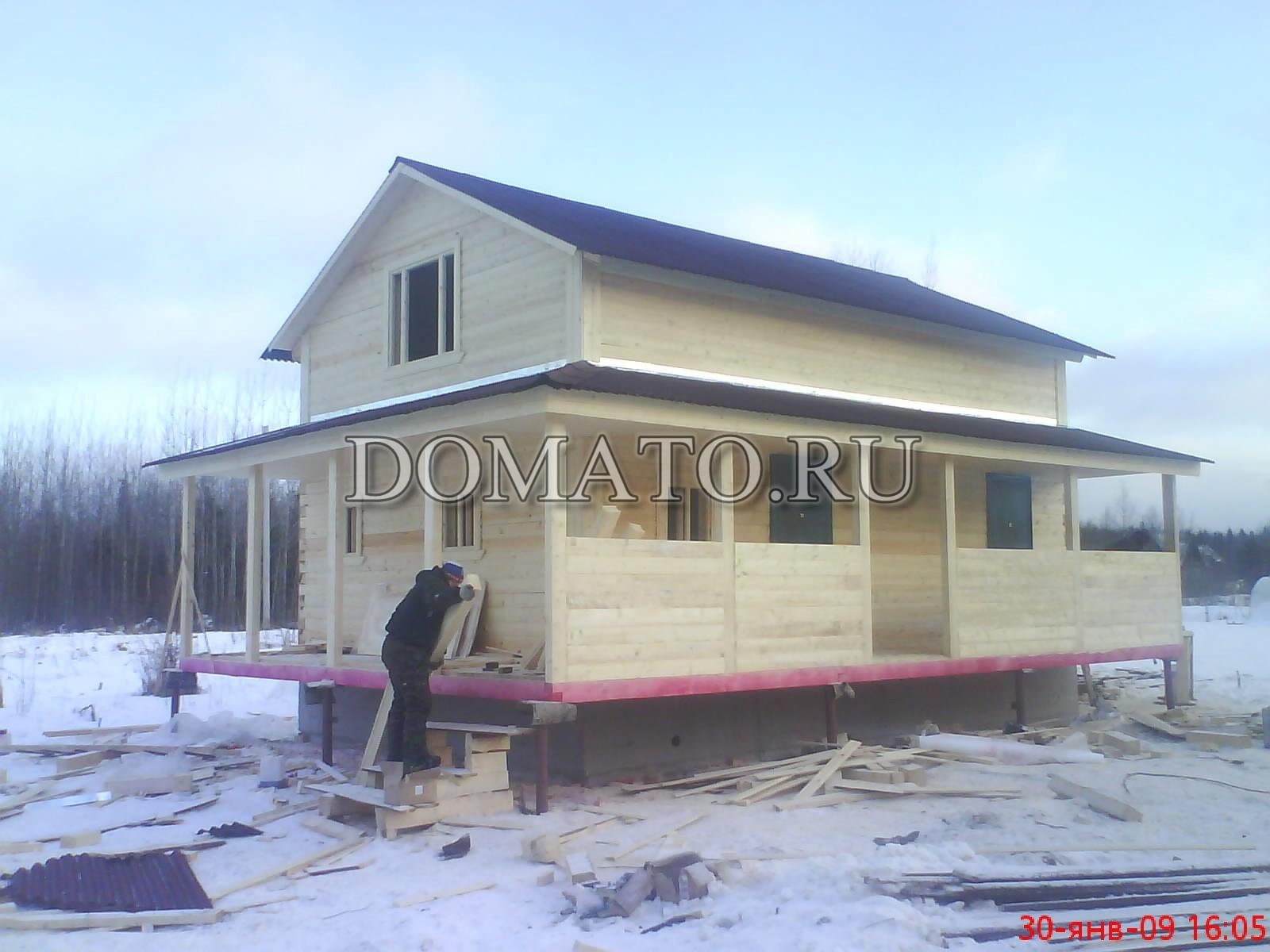 Проект открытой террасы деревянного дома из бруса или каркас.
